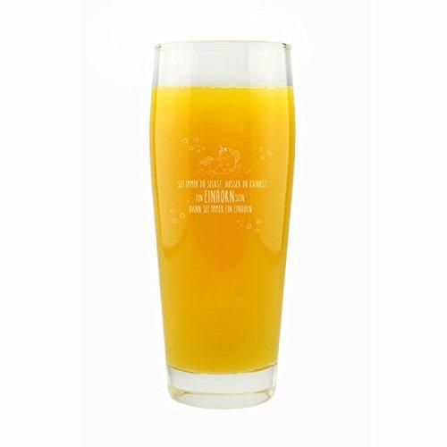 Einhorn Trinkglas Sei Immer Du selbst, ausser Du Kannst EIN Einhorn Sein, dann sei Immer EIN Einhorn! 0,5 L. Glas Geschenk Deko YD 3-001-1146