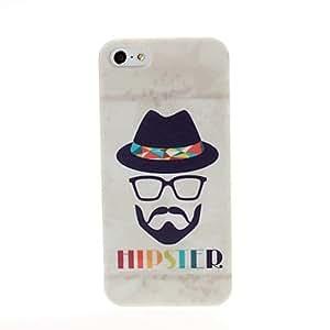 MOFY-El Hipster Se–ores y sombrero Patr—n de pl‡stico duro caso para iPhone 5/5S