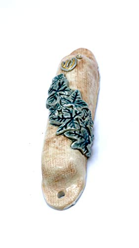 Beautiful English ivy ceramic porcelain mezuzah case, perfect for an Ivy League ()