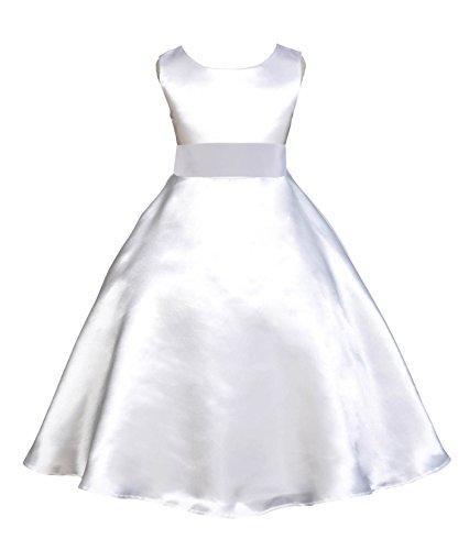 White Satin A-Line Flower Girl Dress Holy Baptism