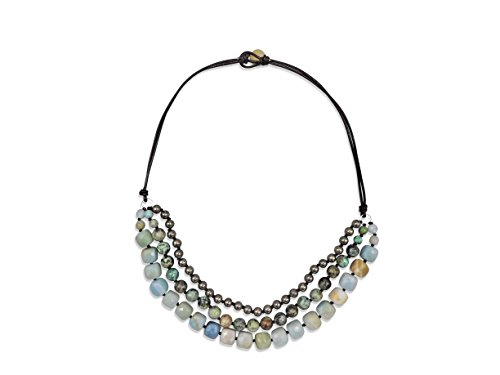- MGR Multi-Color Multi-Stone Beaded On Genuine Leather Layered Statement Necklace, 19-Inch Long.