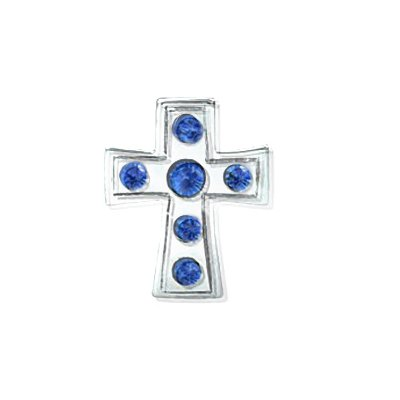 Sterling Silver Cross Charm Bead with Sapphire Color Swarovski Crystal , Fits Pandora, Jovana , Chamilia,bracelet, It Is a Nice Sapphire Color Crystal Pendant