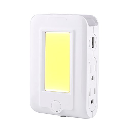 USB Wall Charger Nightlight, Scheam 4 AC Outlet 2 USB Cha...