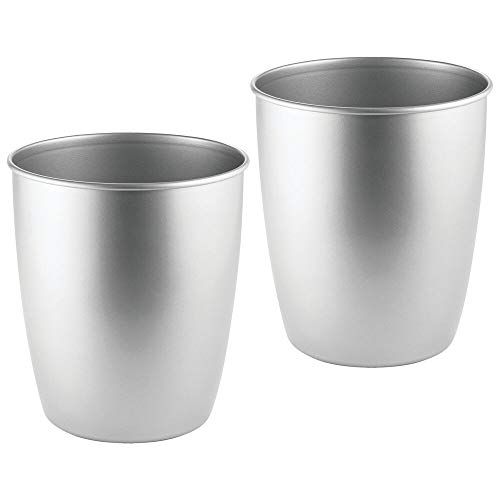 mDesign Round Metal Small Trash Can Wastebasket, Garbage Container Bin for Bathrooms, Powder Rooms, Kitchens, Home Offices - Durable Steel - 2 Pack - Chrome