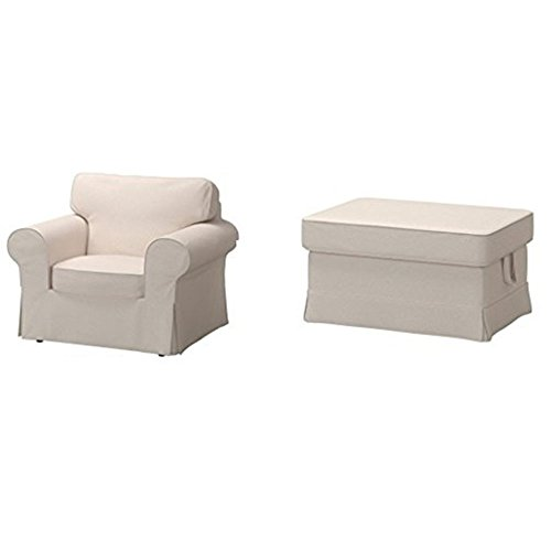 IKEA Chair Cover and Ottoman Cover Bundle - Includes Ektorp Chair Cover (Lofallet Beige) and Ektorp Ottoman Cover (Lofallet Beige) (Ottoman Ikea Covers)