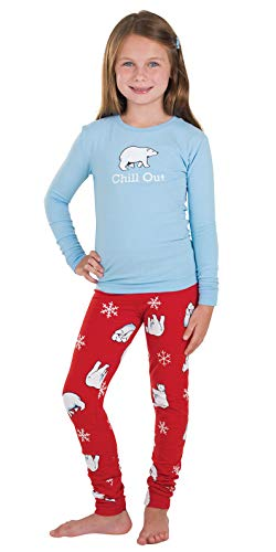 (PajamaGram Cotton Jersey Holiday Chill Out Polar Bear Pajamas, Blue, Big Girl)
