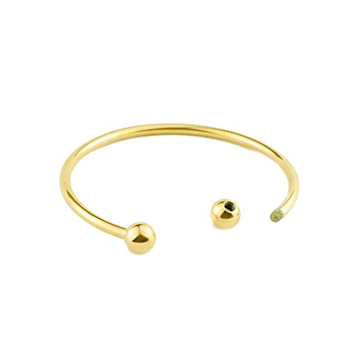 NewStar DIY Wire Cuff Bracelet Screw Ball End Women Gold Bangle for European Style Beads Bracelets Bride Gift ()