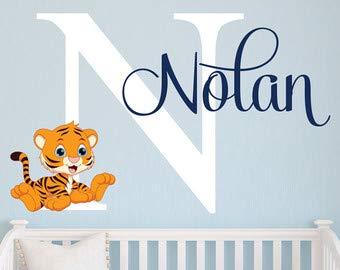 cca0d900c009a Wall Decals Name Tiger Tiger Baby Boy Room Decor - Jungle Theme ...