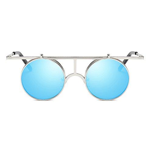 Gothic Steampunk sol Up Round hibote de gafas Vintage Flip Hombres Mujeres C5 Polarized polarizadas Lens FwzqxTU