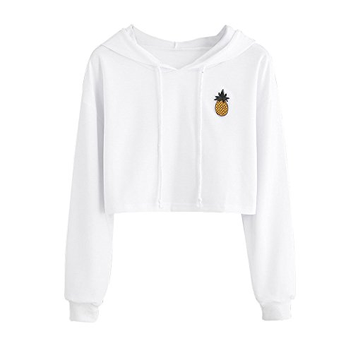 Ankola Sweatshirts, Women Fashion Pinapple Applique Crop Top Pullover Hoodie Blouse