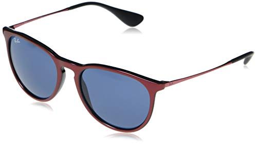 RB4171 Erika Round Sunglasses, Top Metallic Red On Black/Dark Blue, 54 mm