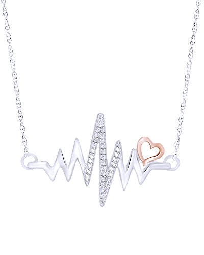 Wishrocks Round Cut Diamond Accent Heartbeat with Heart Necklace in 14K White Gold Over Sterling Silver ()