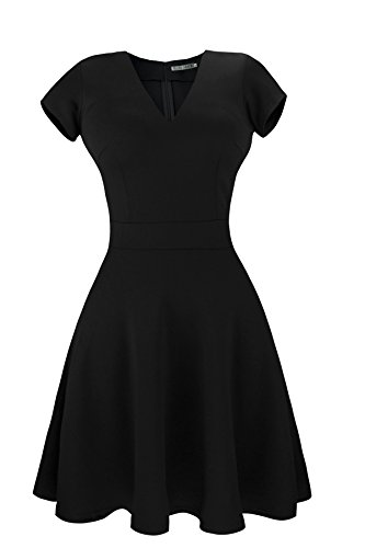 Classic Black College Short - Sylvestidoso Women's A-Line Short Sleeve V-Neck Pleated Little Black Cocktail Party Dress (XXL, Black)