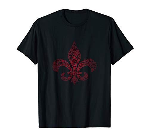 (St. Joan of Arc Crimson Fleur De Lis T-Shirt   ARD)