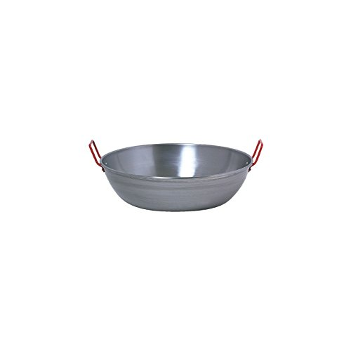 Tiefe Pfanne aus Spanien, Paella Schüssel, D=50cm, Stahl poliert 18Liter
