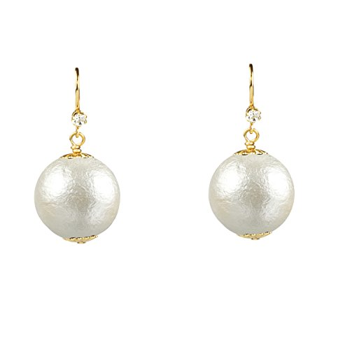 20mm John Wind White Cotton Pearl Earrings, Gold Tone - Pearl Euro Wire Earrings