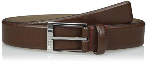 HUGO by Hugo Boss Men's Gellot Grainy Leather Belt, Dark Brown, 32