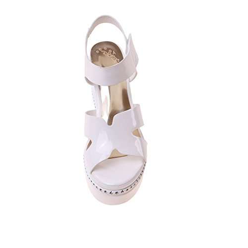 AllhqFashion Women's Soft Material Hook And Loop Open Toe High Heels Solid Sandals White ZtmGAaGZM