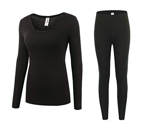 (Bienzoe Women's High Tech Fiber Thermals Long Johns Tops & Pants Set XL Black)