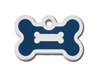 - Epoxy Filled I.D. Tags Chrome with Blue Bone Small