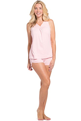Fitted Short Pjs (Fishers Finery Women's Pajama Set; Sleeveless Top & Fitted Short (Pink, M))