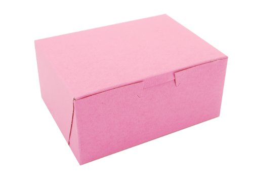 Southern Champion Tray 0803 Pink Paperboard Non-Window Lock-Corner Bakery Box, 6'' Length x 4-1/2'' Width x 2-3/4'' Height (Case of 250) by Southern Champion Tray