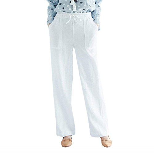 Lounayy Donna Pantalone Coulisse Pantaloni Lunga A Vita Elastica Monocromo Dritta Eleganti Pantaloni Gamba Baggychic Leggero Accogliente Tempo Libero Pantaloni Pantaloni Palazzo Bianca