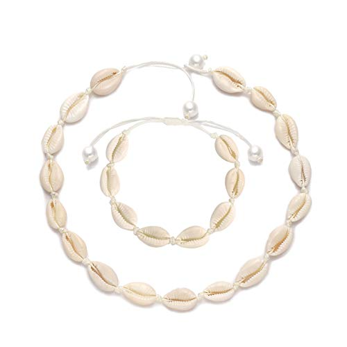 Beach Bracelets Shell - CENAPOG Cowrie Shell Choker Necklace for Women Boho Puka Shell Necklace Corded Seashell Necklace Cowry Collar Necklace Handmade Hawaiian Beach Jewelry for Summer (Shell Necklace Bracelet Set#1)