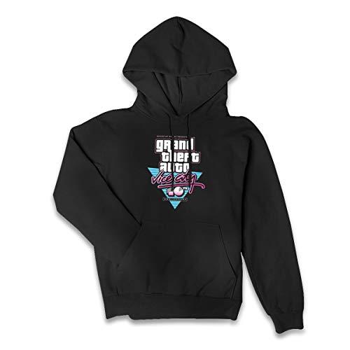 Womens Pullover Hoodie GTA V Grand Theft Auto Vice City Sweatshirt Retro Cotton Sweat Shirts Black L