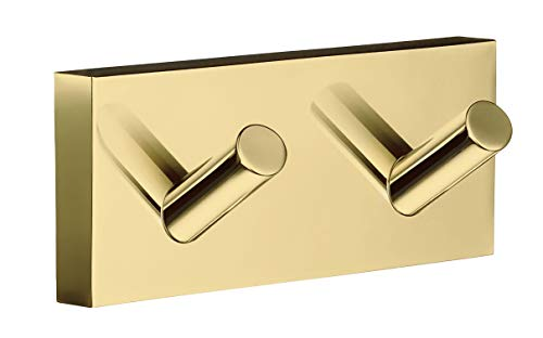Smedbo House Double Towel Hook RV356 Polished Brass .Include Glue.Fixing Without Drilling