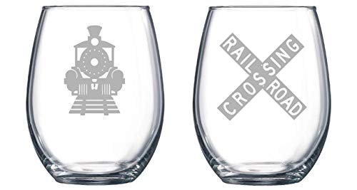 (Train Crossing set of 2 Etched Stemless Wine glass, Pint Glass, Stemmed wine Glass, Rocks glass, Pilsner or Nonic Pint glass)