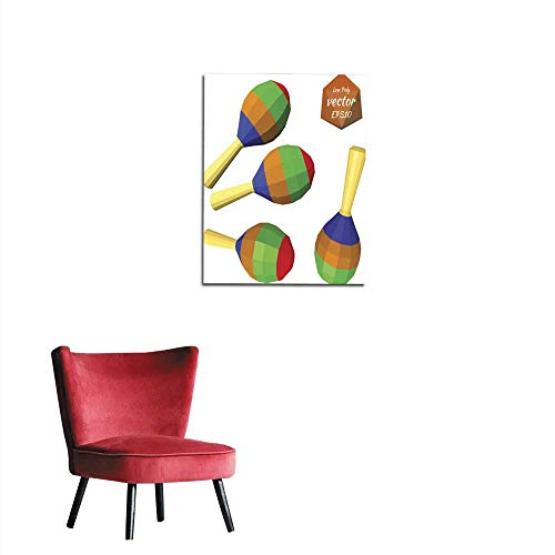 longbuyer Art Decor Decals Stickers Set of Colorful Maracas Isolated on White Background Musical Mural 20