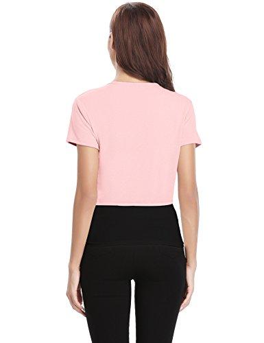 de chaleco botones Bolero chaqueta corto camiseta manga elegante corta abierta mujer de para punto con Vestido Elegante novia Rosa liga ExFqFwS0T