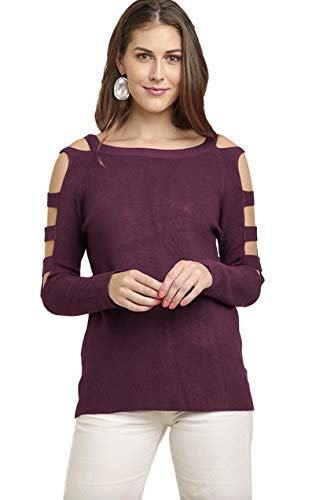 (Umgee Women's Long Sleeve Boatneck Pullover Sweater with Lattice Cutout Sleeves (Medium, Wine))