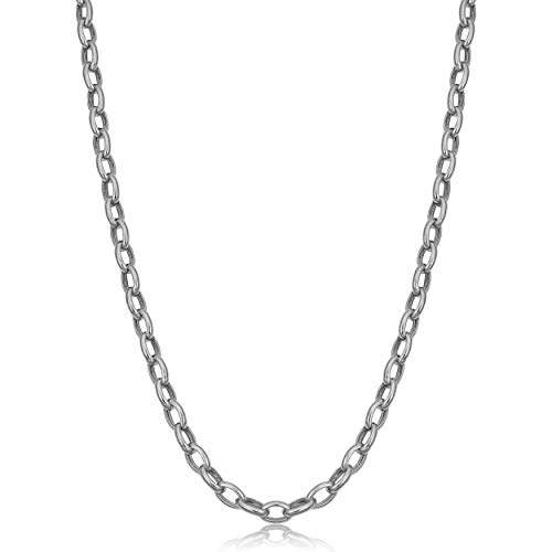 - 14k White Gold Hollow Rolo Link Chain Necklace (4.6 mm, 18 inch)