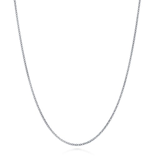 BERRICLE Italian Rhodium Plated Sterling Silver Rolo Chain Necklace 1mm 24