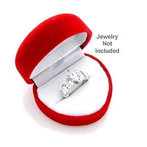 Red Heart Shaped Velvet Ring Jewelry Gift Box - Heart Ring Box