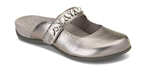 Vionic Women's Rest Jenelle Mary-Jane Mule - Ladies Clog Concealed Orthotic Support Pewter 6 M US