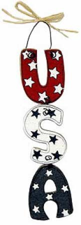 Set of 6 Prepainted Wooden USA Sign Ornaments with Wire Hanger and (Metal Sign Ornaments Set)