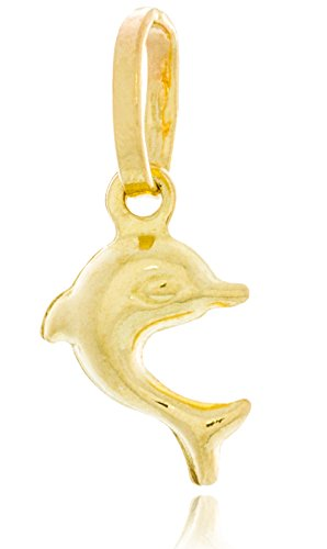 Solid Gold Charm Pendant of Jumping Dolphin (Hollow) 14K Yellow Gold 12.4mm Tall by 8mm Wide | 0.5g ()