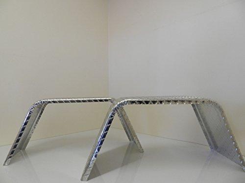 Vintage Flat Top Diamond Plate Aluminum Trailer Fenders (2)
