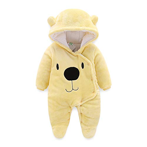 ALLAIBB Newborn Baby Warm Footie Romper Fleece Thick Jumpsuit Winter Outerwear Bear Size 3-6M (Yellow) for $<!--$19.43-->
