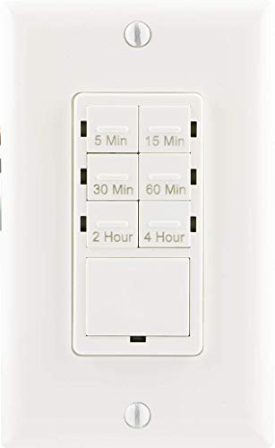 Low Voltage Shower (GE Push Button In-Wall Digital Countdown Timer Switch, 5-15-30 Minute and 1-2-4 Hour Presets, On/Off, NO Neutral Wire Required, for Lights, Exhaust Fans, and Heaters, Décor Wall Plate Included, 15318)