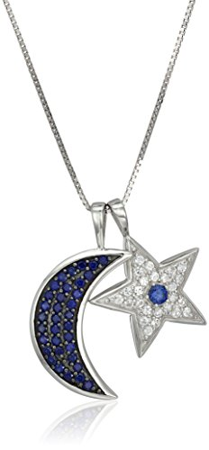 Sterling Silver and Black Ruthenium Over Silver Created Blue and White Sapphire Moon and Star Pendant Necklace, 18