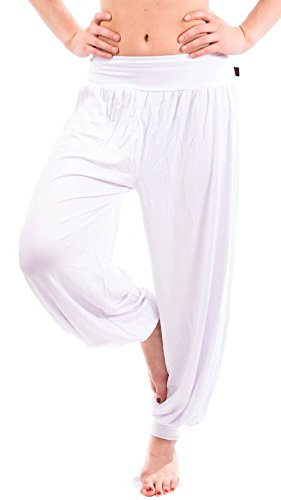 Yogapants in verschiedenen Farben Palazzohose Haremshose - S bis 4XL - Aladinhose Pumphose Yogahose Hose Yoga (Yogahose weiß Gr. M)