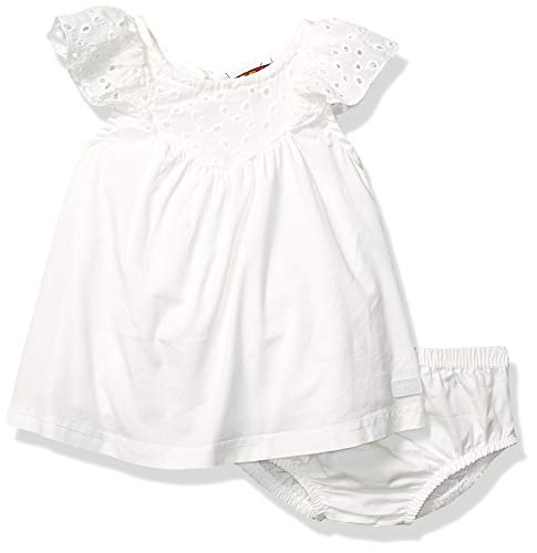 7 For All Mankind Kids Baby Girls Poplin Eyelet Dress with Bloomer Bottom, White 3-6 Months