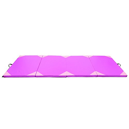 Exercise Mat 4'x10'x2 Gymnastics Hick Folding Panel Gym Fitness Purple & Pink with Ebook