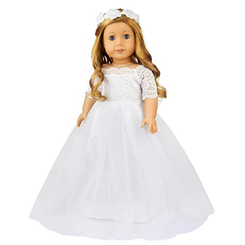 ZITA ELEMENT 1 Set Quality Handmade 18 Inch Doll Bride Wedding Dress with Headband for American Doll Girl Party Gown Dress Clothes Outfits and Hair Accessories