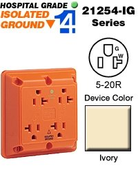 Leviton 20A, 125V, Industrial Series Extra Heavy Duty Hospital Grade, 4-In-1 Receptacle, Isolated Ground