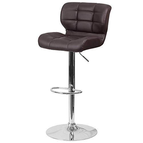 Modern Mid-Back Design Bar Stools Tufted Covering Style Height Adjustable 360-Degree Swivel Seat Sturdy Steel Frame Chrome Base Dining Chair Bar Pub Stool Home Office Furniture - (1) Brown Vinyl #1981
